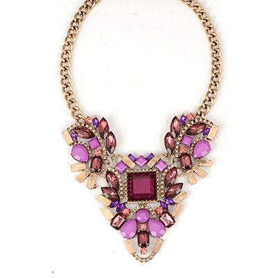 Doggie Purple Vintage Metal Inlaid Gemstone Design Alloy Fashion #Necklaces www.asujewelry.com