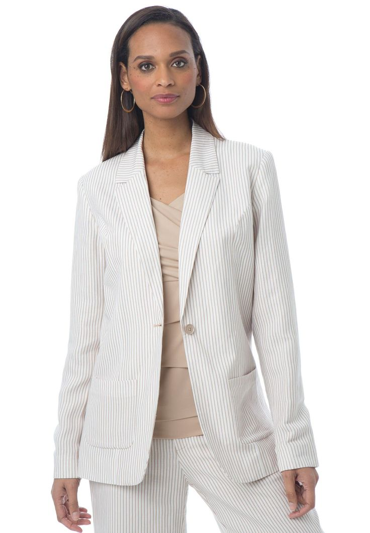 Plus Size Striped Linen-Blend Blazer
