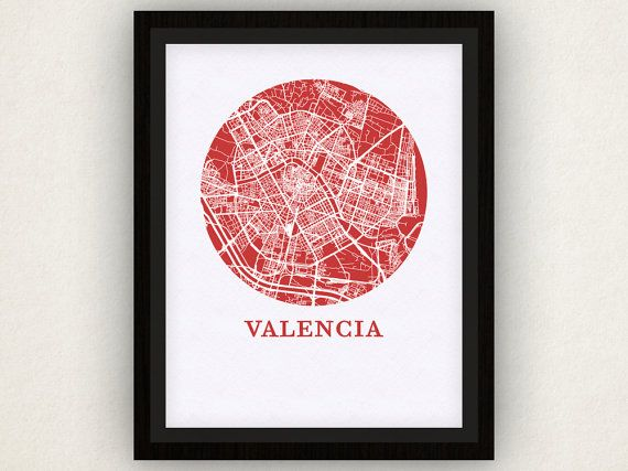 Valencia Map Print  City Map Poster by OMaps on Etsy, $20.00 I want this so bad I cant stand it.