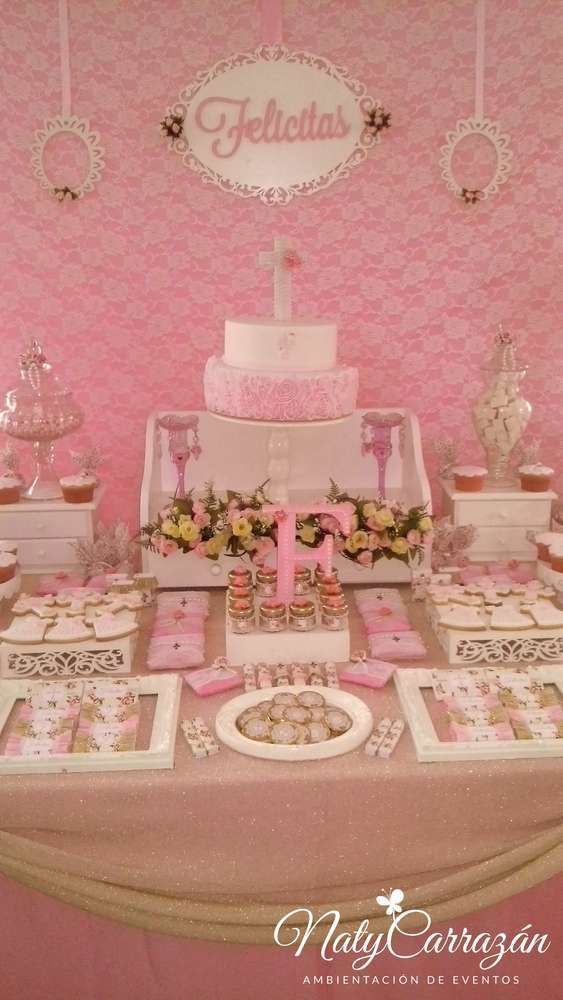 Gold & pink baptism party! See more party planning ideas at CatchMyParty.com!