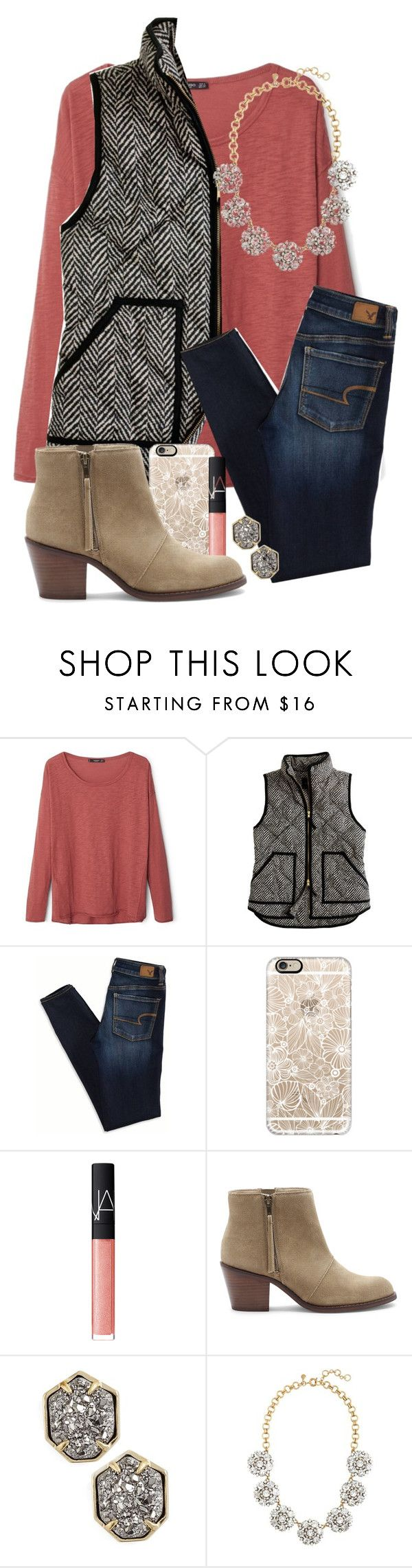 """Want this vest"" by hgw8503 ❤ liked on Polyvore featuring MANGO, J.Crew, American Eagle Outfitters, Casetify, NARS Cosmetics, Sole Society, Kendra Scott, women's clothing, women and female"