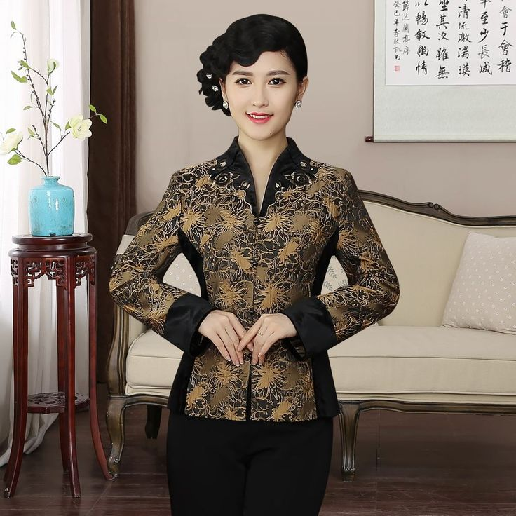 Pretty Mandarin Collar Open Neck Chinese Jacket - Brown - Chinese Jackets & Coats - Women