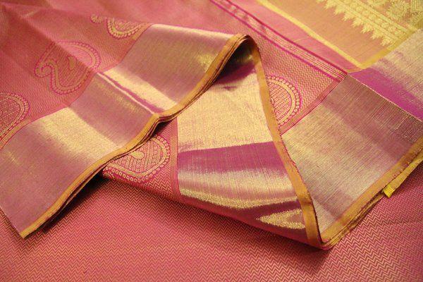 Onion Pink & Sandalwood Yellow Pure Kanchipuram Silk Saree