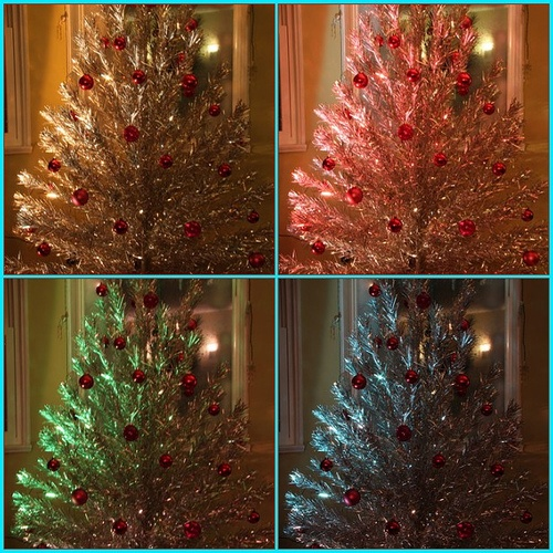 Silver Christmas Tree Color Wheel: 17 Best Images About CHRISTMAS Tinsel Trees On Pinterest
