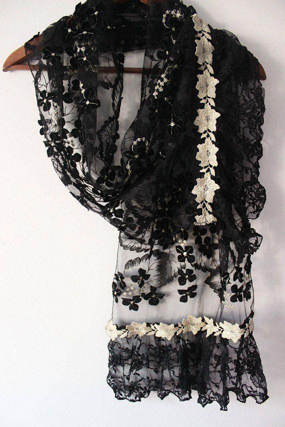 Black woman shawl black lace shawl black bridal scarves