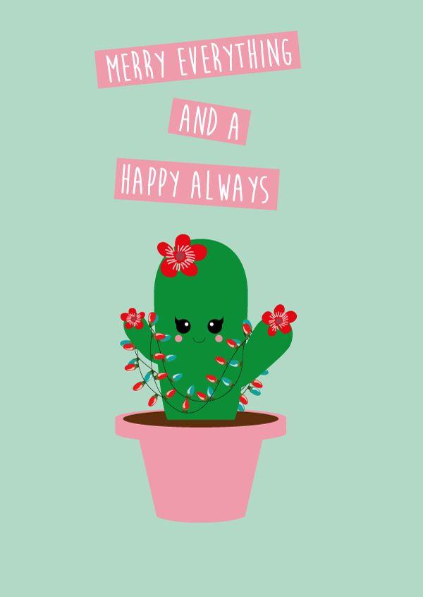 Postkaart cactus kerst Postkaart cactus kerst. Deze kaart is geschikt voor iedereen die fan is van cactussen en natuurlijk kerst. [ssba]...