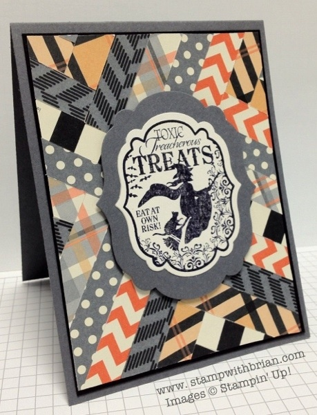 Toxic Treats, Howlstooth & Scaringbone Designer Series Paper, Herringbone, Stampin' Up!, stampwithbrian.com, Halloween card