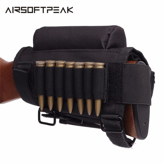 Tactical Buttstock Rifle Cheek Rest Pouch Holder w// Ammo Carrier Cartridge bag