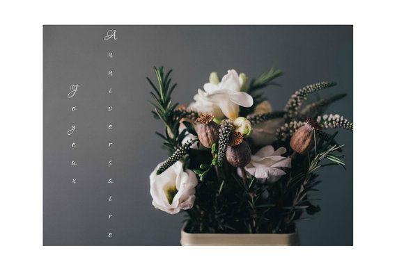 Français - Carte anniversaire, Bonne Fête, Joyeux Anniversaire, Carte, Photographie, Fleur, Souhaits, Voeux, Art, Carte 5x7