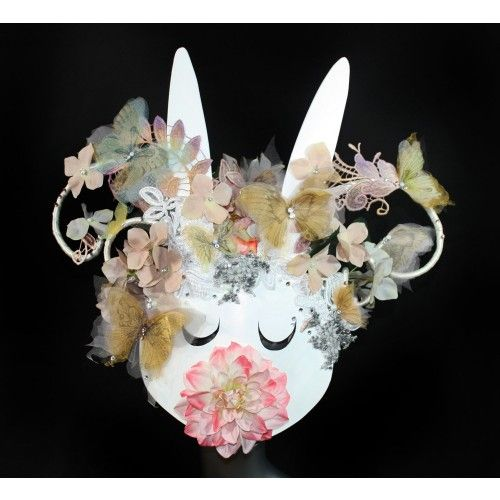 Fairy Rabbit Mask #accessories #mask #masks #masquerade #masquerademask #venetianmask #carnival #headpiece #swarovski #crystals #crystalmask #lacemask #costume #mardigras #halloween #party #couture #bridal #wedding #masqueradeball #headwear #elvendesignart #fairy #fashion #gothic #steampunk #victorian #baroque