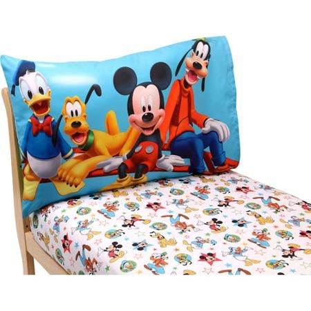 Disney Mickey Mouse Playground Pals 2-Piece Toddler Sheet Set, and of course you always have to have the extra sheet for toddler beds.