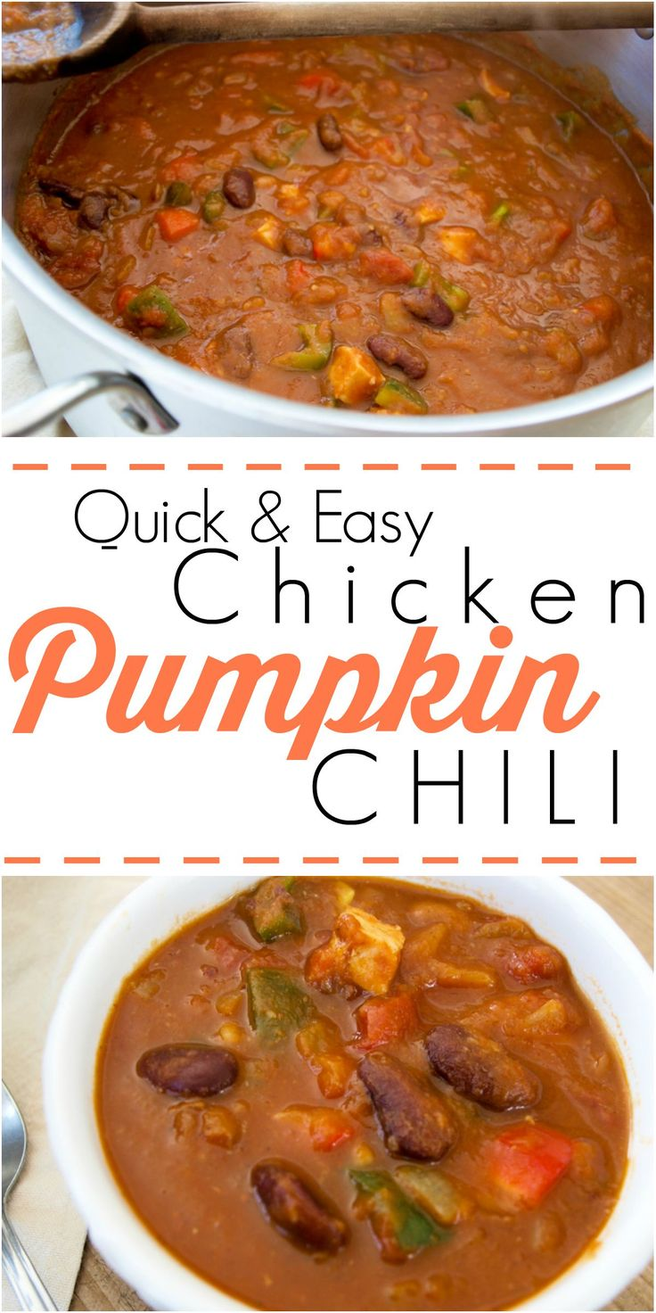 This quick and easy Chicken Pumpkin Chili is a fall staple recipe at ...