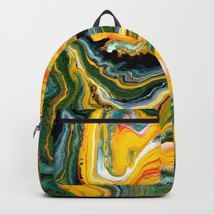 """Painted Origin backpack by Fimbis ________________________________ abstract art, art, bags, school, fashion, green, orange, paint, painting, style, luggage, travel, school bag, yellow, fashionista, fluid art, marbling,  _________________________________ Our Backpacks are crafted with spun poly fabric for durability and high print quality. Thoughtful details include double zipper enclosures, padded nylon back and bottom, interior laptop pocket (fits up to 15""""),"""