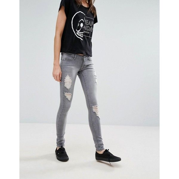 Cheap Monday Slim Destroyed Thighs Jeans (76 NZD) ❤ liked on Polyvore featuring jeans, grey, distressed skinny jeans, destructed jeans, grey ripped skinny jeans, slim skinny jeans and tall skinny jeans