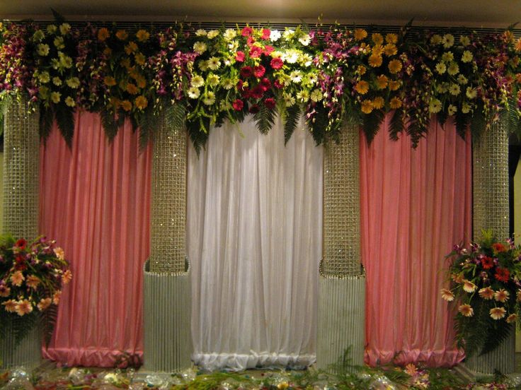 Flower wedding stage decor vyasa puja backdrop ideas for Backdrops for stage decoration