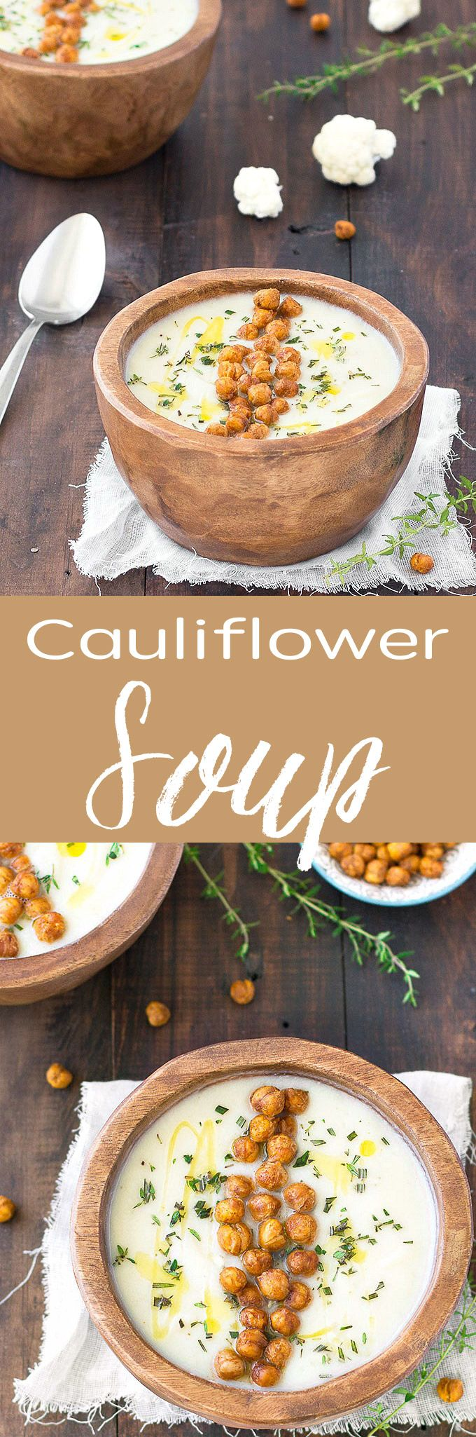 This simple creamy cauliflower soup is filling, healthy, naturally gluten free, low calorie, vegan, and tastes absolutely amazing! It requires only a few basic ingredients and comes together in 30 minutes!
