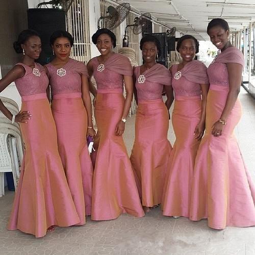 >> Click to Buy << Cheap Trumpet/Mermaid Bridesmaid Dresses Maid of Honor Taffeta Pink  Long Bridesmaids Dress Lace Long Junior 2016 #Affiliate