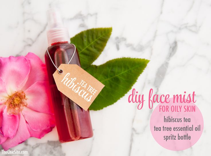 Refresh your skin simply and naturally with this great recipe from @msrachelhollis. All you need is tea tree oil, hibiscus tea, and water.