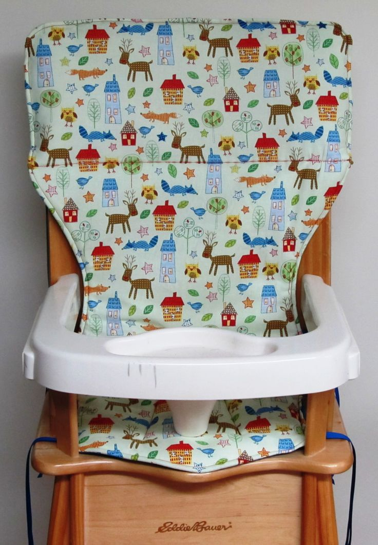 high chair cover, baby accessory, Eddie Bauer wooden high