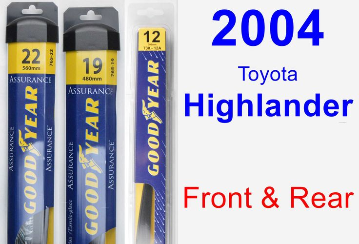 front rear wiper blade pack for 2004 toyota highlander assurance products cars and. Black Bedroom Furniture Sets. Home Design Ideas