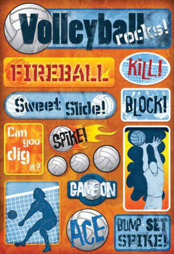 Volleyball Cardstock Stickers 5-1/2-Inch by 9-Inch, Volleyball Rocks:   KAREN FOSTER DESIGNS-Cardstock Stickers. This package contains a 9 by 5-1/2 sheet of acid and lignin free; archival; high quality stickers perfect for scrapbooks; greeting cards and all paper craft projects. These stickers are available in a vast variety of themes. Size; shape; color and number of stickers per sheet varies by theme. Made in USA.