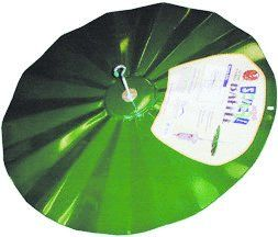 "SB5   Green hanging metal Disk Baffle. 22-1/2"" Diameter."