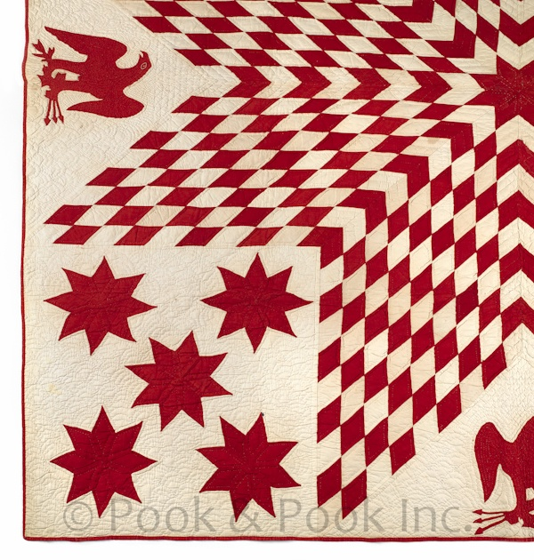 Pieced lone star and eagle quilt, late 19th c. Pookandpook