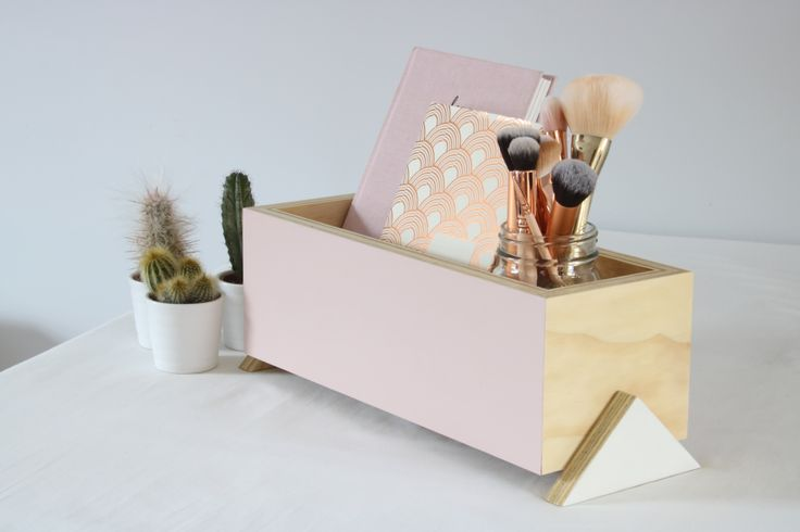 Rose Quartz Plywood Storage Box handmade and painted, buy now £29 at www.janehandforddesign.com/shop