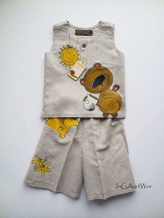 Suit for boys grey  linen painted suit for boys  by InGAartWork, $57.00