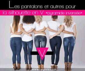 Comment choisir et quels jeans ou pantalons porter quand on est en V, pyramide inversée ou triangle inversé ? Conseils mode pour sa morphologie et silhouette en V.