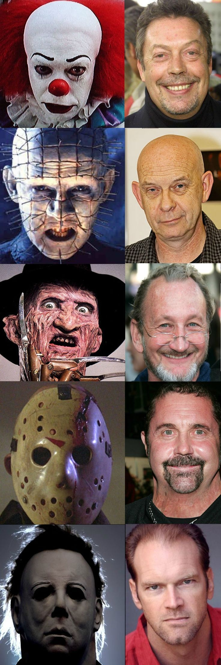 Behind the horror masks. That is not who played the first Michael Myers though. Maybe in part 2.