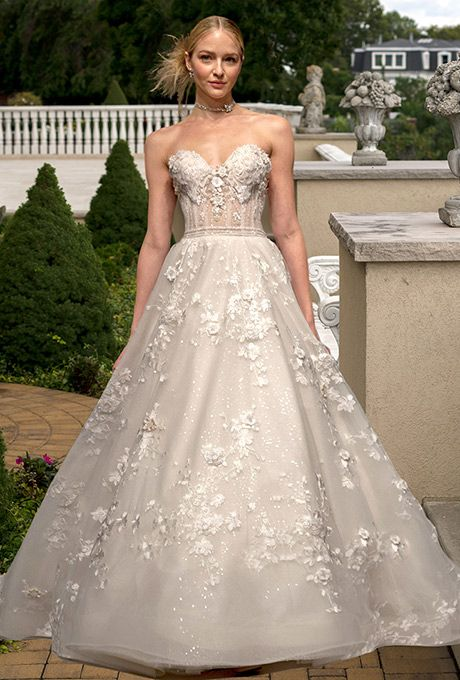 Brides: Eve of Milady. Ivory/blush embroidered and beaded A-line gown.
