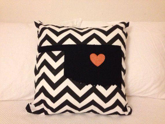 "Oklahoma State University Pillow #OSU #Cowboys by Michelle Hart via her Etsy shop, ""BabyGotBobbin."""