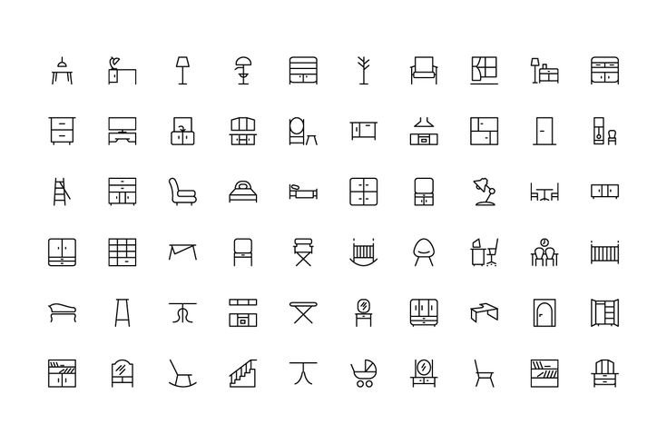 100 Furniture Icons by Creative Stall on Creative Market