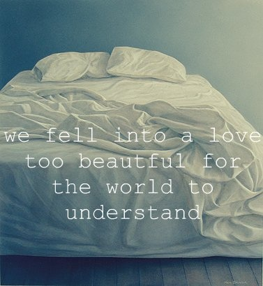 We fell into a love too beautiful for the world to understand. -k.m. spangler the photo isn't mine, but the words are.