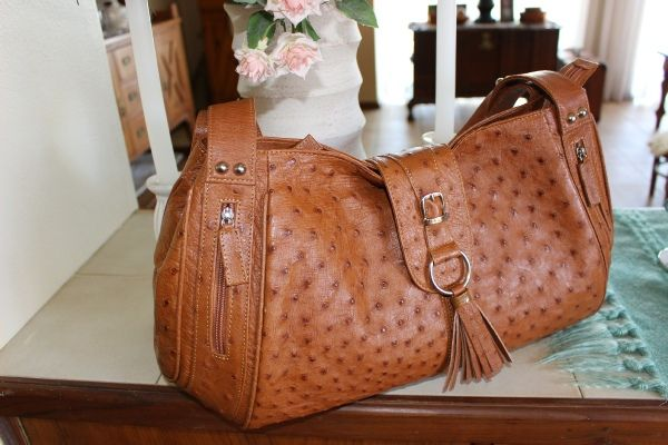 Louisa -  Noble Stone, Genuine African Ostrich Leather Handbag.