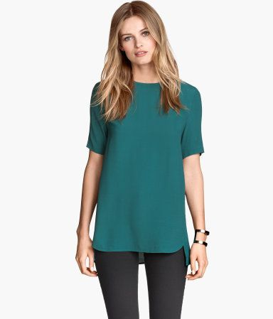 Teal Short-Sleeved Blouse Product Detail | H&M US