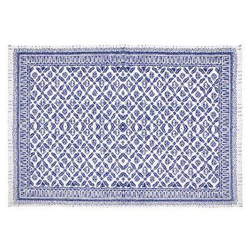 tapis bleu motifs losanges anciens   zara home