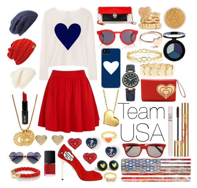 Olympic Team USA by samsamshep on Polyvore featuring polyvore, fashion, style, Banjo & Matilda, Alice + Olivia, Charlotte Olympia, Jonathan Adler, River Island, Oasis, 2b bebe, Kate Spade, Linda Lee Johnson, C. Wonder, Christian Louboutin, Alex Woo, Charlotte Russe, Nordstrom, Wildfox, Leith, Illesteva, Sheriff&Cherry, Bare Escentuals, Smashbox, Topshop, Lord & Berry, NARS Cosmetics and Parvez Taj