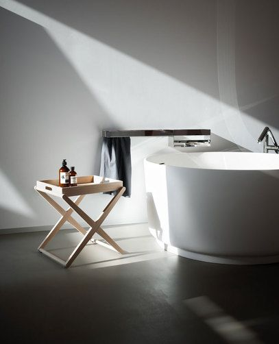 Agape, X #agapedesign, versatile wooden accessory in a natural, brown or dark oak finish or in teak.In-Out bathtub http://www.agapedesign.it/en/products/485-in-out