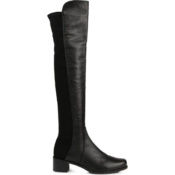 Stuart Weitzman Reserve stretch-back leather boots ($505) ❤ liked on Polyvore featuring shoes, boots, knee high leather riding boots, stretch boots, knee high leather boots, equestrian boots and stuart weitzman knee high boots