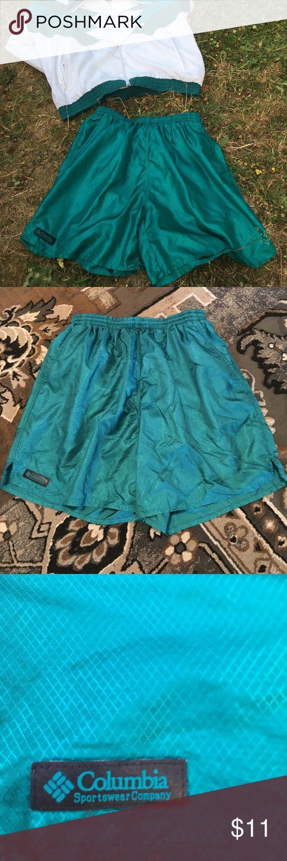 Vintage Columbia activewear turquoise shorts Columbia mesh vintage running shorts Columbia Shorts Athletic