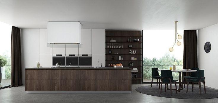 mesa y sillas negras en la cocina elegante y moderna