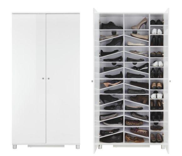 I love my shoe wardrobe! So happy to have it! <3 <3  B/H/T: 90,6/188,5/28,0 cm;   Anzahl der Schuhpaare: 42  Anzahl der Türen: 2;  Art der Tür: Drehtür Anzahl der Einlegeböden: 39 Oberfläche Metall: vernickelt;  Front: MDF Oberfläche: Hochglanz, lackiert