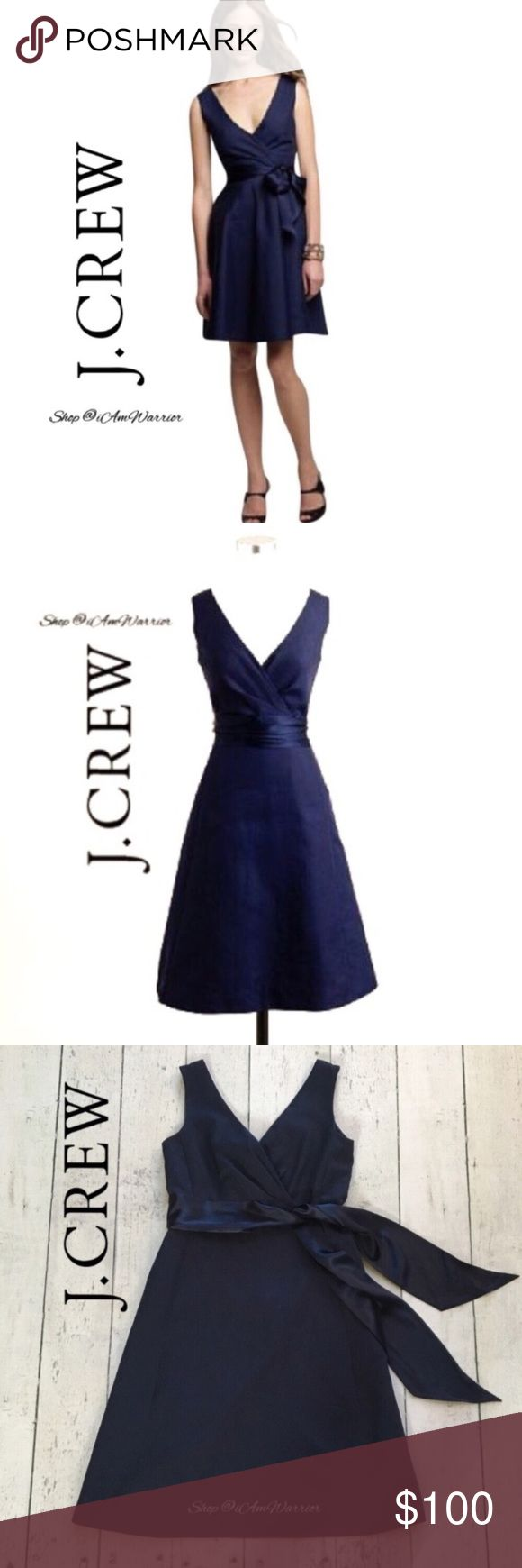 "J. Crew navy Serena cotton cady belted dress Classic and elegant J. Crew fully lined navy blue sleeveless crisp cotton cady dress with satin tie belt. Can tie in back or in front. V-beck/surplice neckline, A-line silhouette. Approx 38"" long. Excellent condition, smoke free home. Please read my bio regarding closet policies prior to any inquiries. J. Crew Dresses"