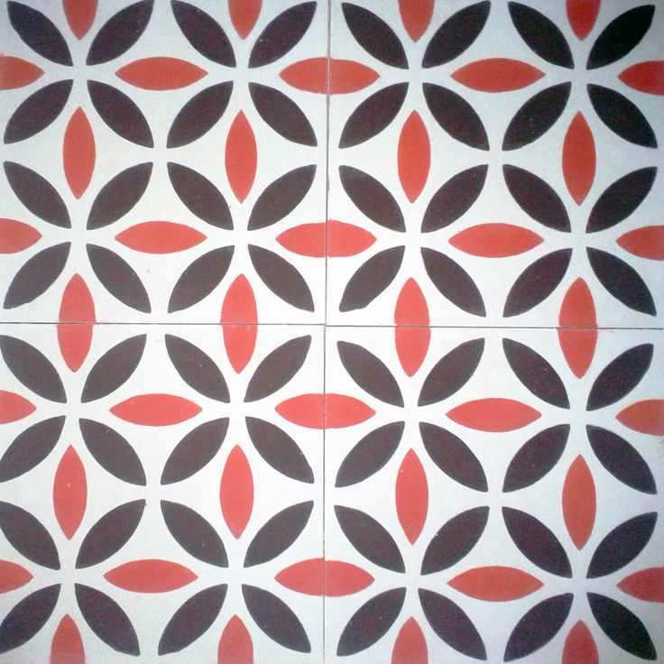 Geométrico Spanish design, Hydraulic Authentic Andalusian Tiles for both the floor and wall. MOD-210#tiles #tile #floor #azulejos #home #casa #black #red #white