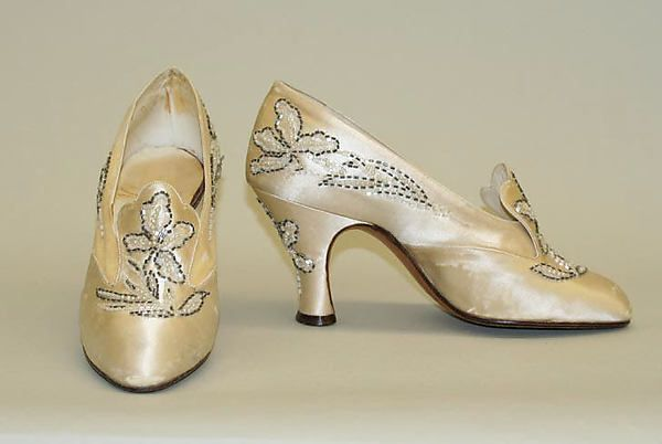 "VanderBiltmore Style"": Ladies Wedding Shoes, Designer: André Perugia (French, 1893–1977), Date: 1924, Culture: French, Medium: Silk, Leather."