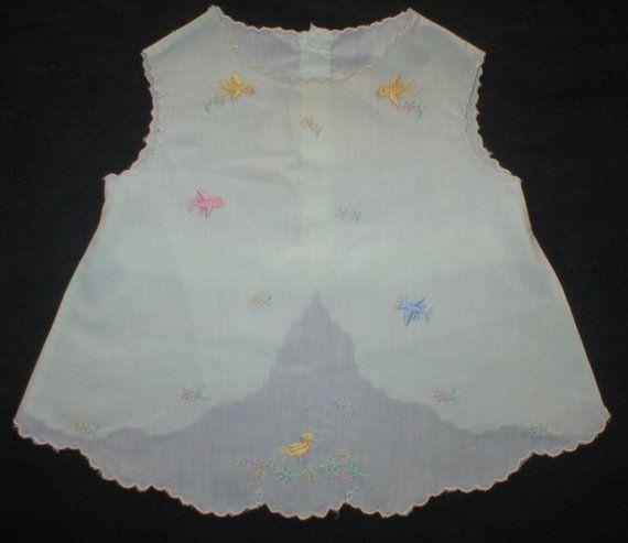 Vintage Baby Diaper Shirt Mint Green Darling Embroidery Dressy Fancy Birds Flowers
