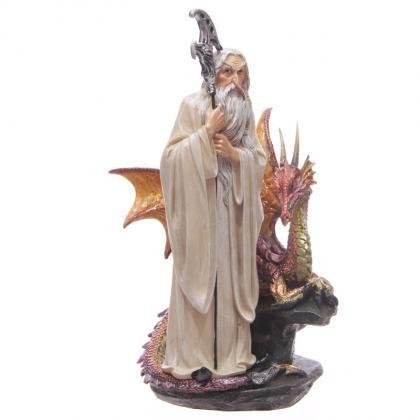 Polyresinová soška Bílý čaroděj & červený fantasy drak