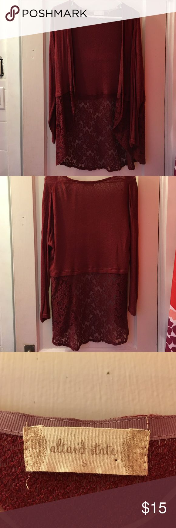 altar'd state maroon cardigan altar'd state maroon cardigan with lace detail on the bottom Altar'd State Sweaters Cardigans